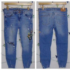 Zara Distressed Denim Floral Embroidered Jeans